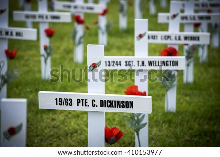 AUCKLAND - APRIL 24: White wooden crosses outside Auckland's War Memorial Museum commemorate the war dead, following an Anzac Day remembrance service on April 24, 2016 in Auckland, New Zealand.