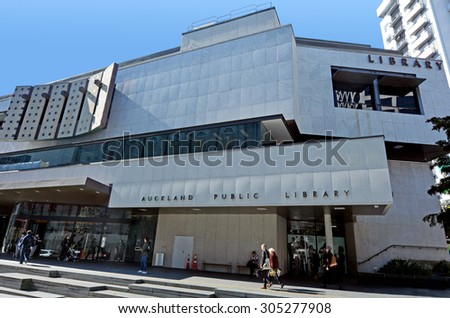 AUCKLAND -  AUG 11 2015:Central City Library in Auckland CBD. Auckland public library system is the largest public library network in the Southern Hemisphere with 55 branches from Wellsford to Waiuku. - stock photo