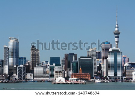 Auckland Cities CBD showing  Harbour with copy-space  - stock photo