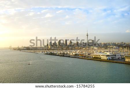 Auckland city at sunrise light - stock photo
