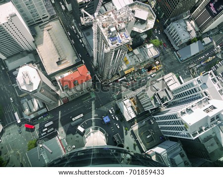 Auckland City Center. Sky Tower View from above. New Zealand. March 30, 2017