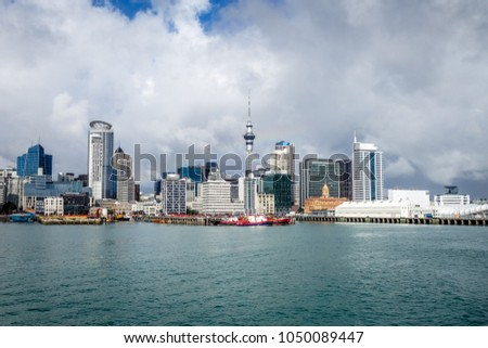 Auckland city center view from the sea, New Zealand