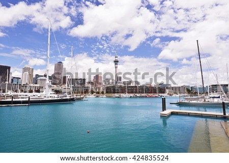 Auckland city center with Viaduct basin with in the foreground, New Zealand.