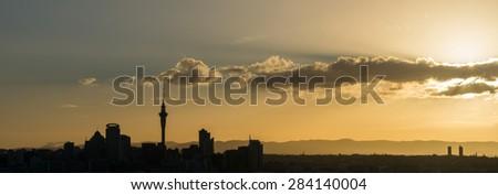 Auckland City Sunset - stock photo