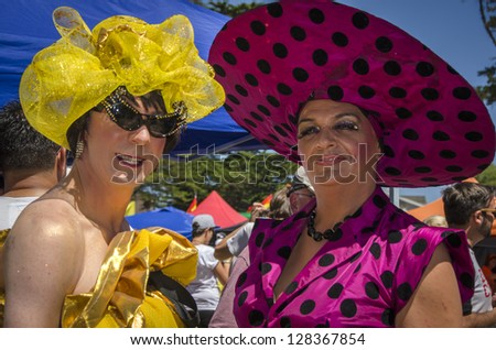 AUCKLAND - FEBRUARY 10: Drag queens were among the estimated 15,000 people who took part in the Auckland Big Gay Out Festival, celebrating gay pride, on February 10, 2013 in Auckland, New Zealand. - stock photo
