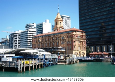 Auckland Ferry Building, New Zealand - stock photo