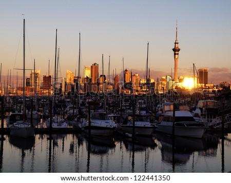 Auckland harbor - stock photo