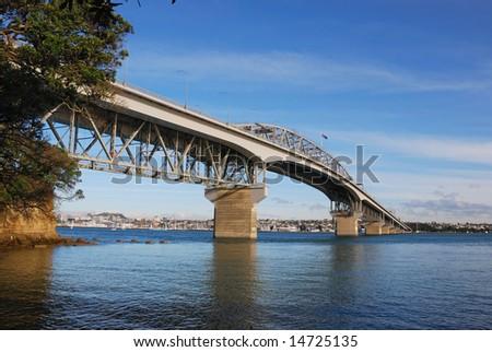 Auckland Harbor bridge, New Zealand - stock photo