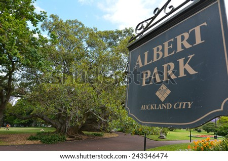AUCKLAND - JAN 09 2015: Visitors in Albert park. Albert Park is a famous scenic park in central Auckland, New Zealand. - stock photo