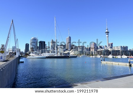 AUCKLAND - JUNE 01 2014:Auckland Viaduct Harbor Basin.It's a former commercial harbor turned into a development of mostly upscale apartments, office space and restaurants.