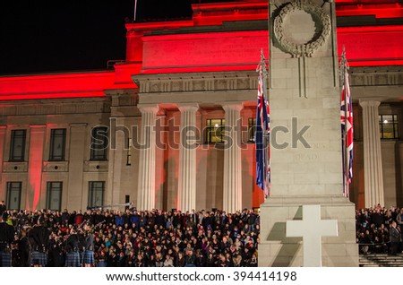 Auckland, New Zealand - April 25, 2015 : Remembrance Day, known as ANZAC Day in New Zealand, featured a dawn service in memory of those who have died at war