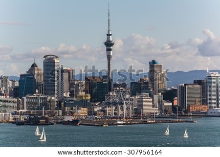 AUCKLAND, NEW ZEALAND Circa April  2014: sailing boats in front of the CBD of auckland
