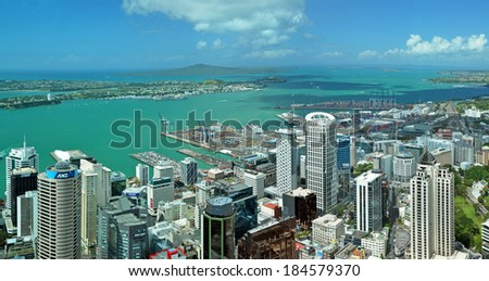 AUCKLAND, NEW ZEALAND - DECEMBER 02, 2011: Auckland city & harbour landscape aerial panorama looking east to Rangitoto Island and the heads of the Waitemata Harbour. - stock photo
