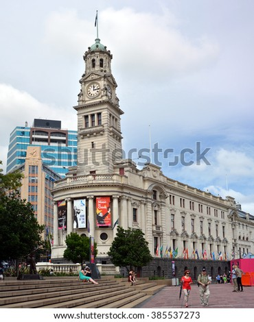 Auckland, New Zealand - February 28, 2016; Auckland Town Hall building and clock tower in Aotea Square, Queen Street.