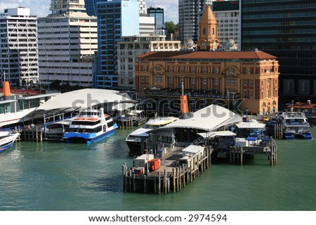 Auckland New Zealand Ferry Building Dock Area