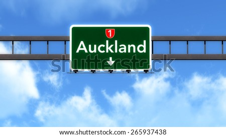 Auckland New Zealand Highway Road Sign