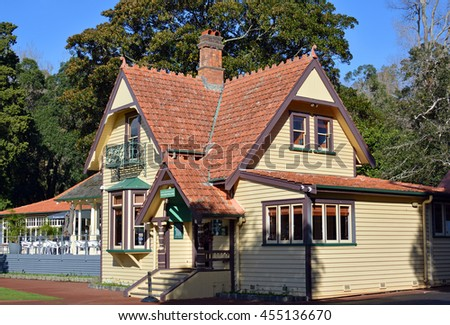 Auckland, New Zealand - July 16, 2016: The Historic Visitors' center and restaurant buildings. One Auckland's most popular tourist attraction  on One Tree Hill in Cornwall Park, New Zealand. - stock photo