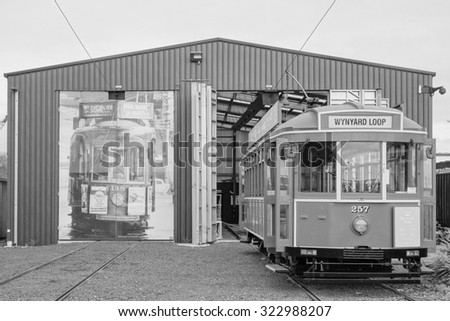 AUCKLAND, NEW ZEALAND - JUNE 09, 2015: Dockline Tram vintage public transport