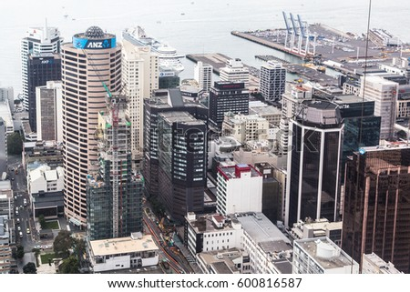 AUCKLAND, NEW ZEALAND - MARCH 1, 2017: An aerial view of Auckland central business district along the waterfront. This is the largest city and the business center of New Zealand.