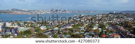 Auckland, New Zealand - May 21, 2016: Panoramic view from Mount Victoria, Devonport towards Auckland City & The Harbour Bridge in the background with copy space.