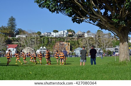 Auckland, New Zealand - May 22, 2016: Schoolboy Junior Rugby practice on a Sunday morning in Remuera Auckland, New Zealand