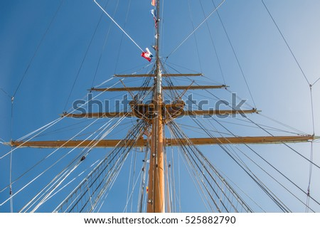 Auckland, New Zealand - November 22, 2016: Sails of Esmeralda at the New Zealand Navy's 75th Birthday celebrations.