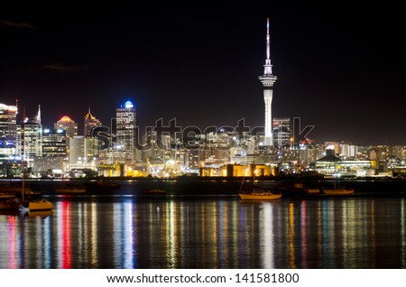AUCKLAND,NZ - MAY 30:Auckland Skyline at night on May 30 2013.It's the largest and most populous urban area in the country. It has 1,397,300 residents, which is 32 percent of the country's population.
