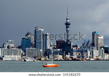 AUCKLAND,NZ - MAY 30:Auckland Skyline on May 30 2013.It's the largest and most populous urban area in the country. It has 1,397,300 residents, which is 32 percent of the country's population.