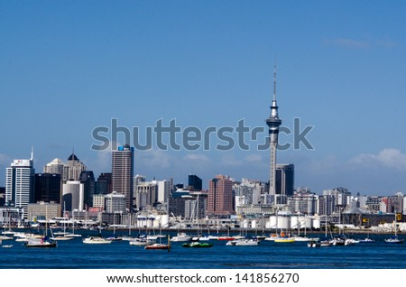 AUCKLAND,NZ - MAY 27:Auckland Skyline on May 27 2013.It's the largest and most populous urban area in the country. It has 1,397,300 residents, which is 32 percent of the country's population.