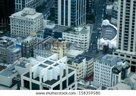 AUCKLAND,NZ - OCT 08:Aerial view of apartments buildings in Auckland downtown on oct 08 2013.House prices are booming around NZ - with the average price of an Auckland city home rocketing to $735,692