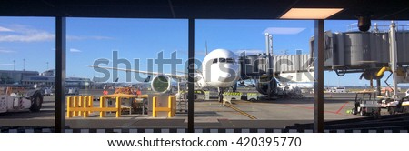 AUCKLAND, NZL - APR 14 2016:Auckland Airport.Since 2013 the airport awarded by Skytrax WorldAirport Awards, the best airportin Australia Pacific(5 years in a row) - stock photo