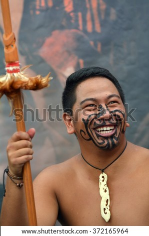 AUCKLAND,  NZL - JAN 30 2016:Maori man smile. Maori are the indigenous people of New Zealand that migrated to New Zealand from Polynesia1000 years ago. - stock photo
