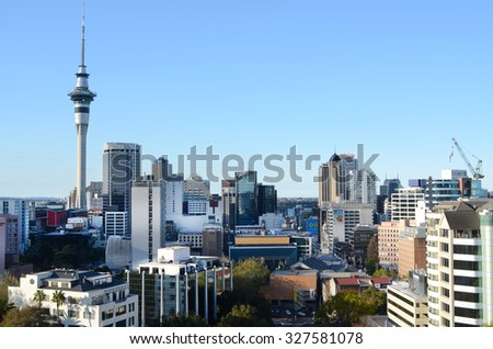 AUCKLAND - SEP 29 2015:Panoramic view of Auckland CBD skyline.Auckland is frequently ranked within the world's top 10 most liveable cities - stock photo