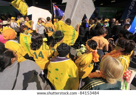AUCKLAND- SEPT. 6: Australia Rugby team supporters await team arrival  for World Cup 2011 in Auckland International Airport, Auckland, New Zealand on Tuesday September 6, 2011. - stock photo