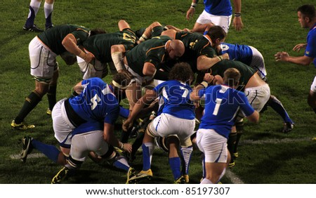 AUCKLAND - SEPT. 22: Rugby World Cup 2011 match between South Africa and Namibia at the North Shore Stadium in Auckland, New Zealand on September 22, 2011. - stock photo
