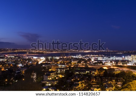 Auckland Skyline/ Auckland harbor and city at night