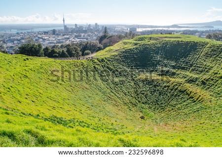 Auckland skyline from Mount Eden - stock photo