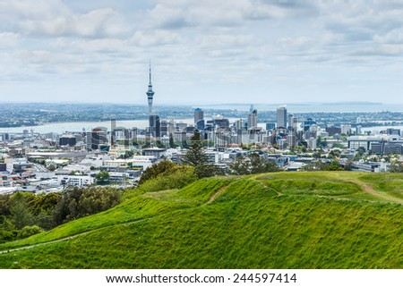 Auckland skyline looking from the top of Mount Eden, New Zealand - stock photo