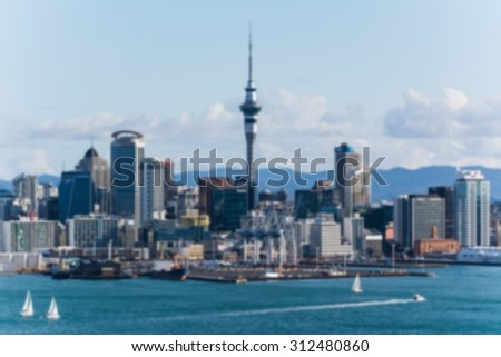 auckland the capital of new zealand with its impressive skyline - picture blurred on purpose using a gaussian blur filter in photoshop
