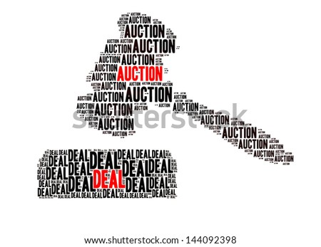 Auction and Deal text in shape of Gavel and Soundboard on white background - stock photo