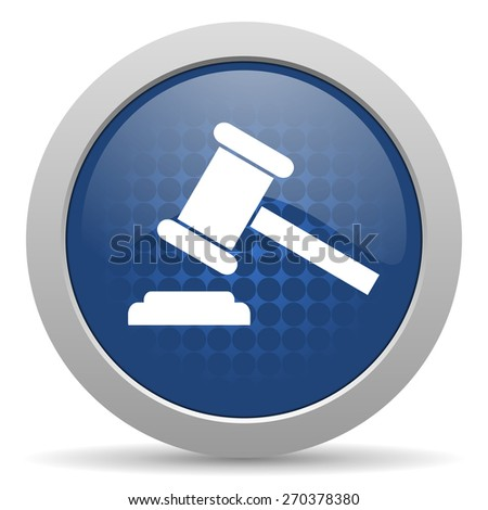 auction blue glossy web icon  - stock photo