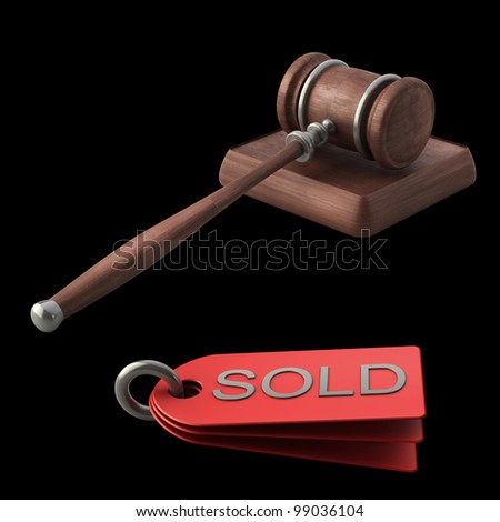 Auction gavel isolated on black background High resolution 3D - stock photo