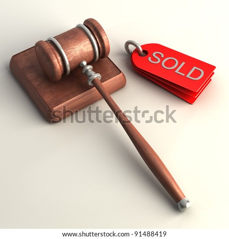 Auction gavel on white  High resolution 3D image - stock photo