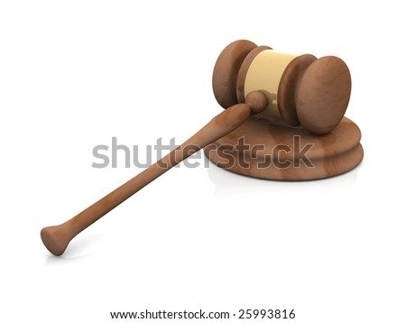 Auction Hammer	 - stock photo