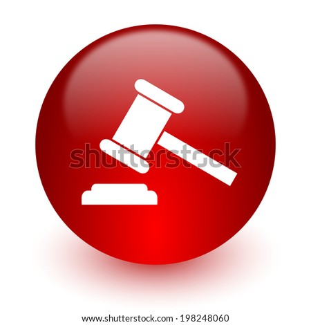 auction red computer icon on white background - stock photo