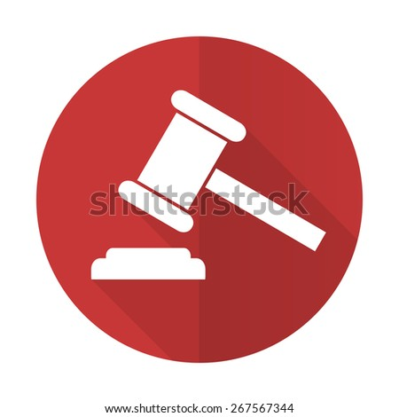 auction red flat icon court sign verdict symbol  - stock photo