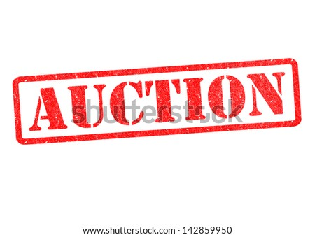 AUCTION Rubber stamp over a white background. - stock photo