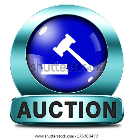 Auction sign online sale bidding buying stock illustration for Buy house online