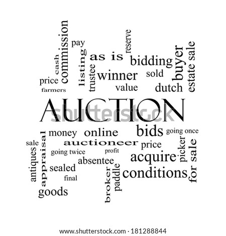 Auction Word Cloud Concept in black and white with great terms such as price, bidding, online and more. - stock photo