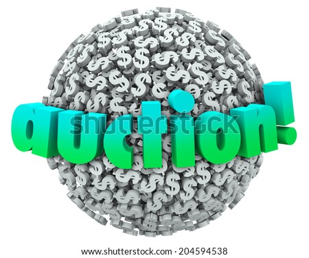 Auction word on a ball or sphere of dollar signs or symbols as a winning bidder buys  - stock photo